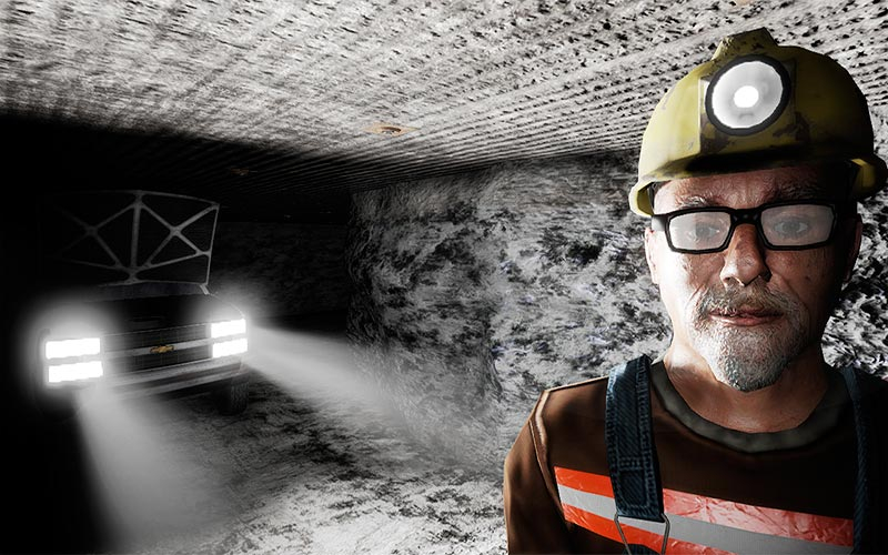 Screenshot of Computer graphics from video game that helps to train miners in real life