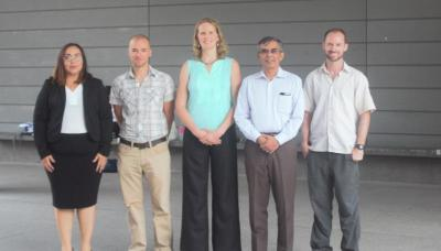 UA researchers from the Mel and Enid Zuckerman College of Public Health and Arizona Research Laboratories' Bio Computing Facility who collaborated on Kidenga include, from left: Andrea Rivera, Chris Schmidt, Kacey Ernst, Nirav Merchant and James Romine.