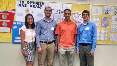 From left: Biostatistics graduate students Mallorie Fiero and Kevin Doubleday from the UA Mel and Enid Zuckerman College of Public Health; Andrew Christian, statistics teacher at Sahuaro High School; and statistics graduate student Grant Schissler.