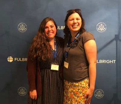 From left, Breanne Lott and Katey Redmond at the Fulbright sub-Saharan Africa Pre-Departure Orientation in Chicago on July 12, 2019.