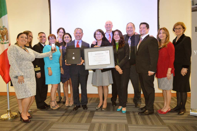 Dr. Cecilia Rosales (center) and fellow advisory board members for the national Ventanillas de Salud program, receives the Ohtli Award at the Mexican Consulate in San Diego, Calif., in November. Photo: Ventanillas de Salud
